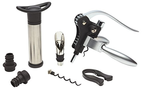 BarCraft 7-Piece Deluxe Wine Gift Set with Lever-Style Bottle Opener