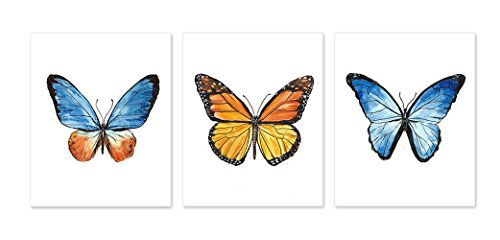 Butterfly Wall Art Decor #A132 - Set of 3 Prints Watercolor Posters (8x10 ) Monarch Blue Gold Butterflies Painting For Kids Girls Nursery Picture Artwork