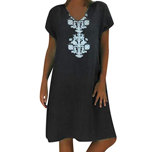Sunhusing Ladies Summer Loose Casual Linen Dress V-Neck Bohemian Print Short Sleeve Dress Black