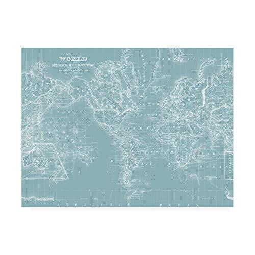 - Trademark Fine Art World Map on Aqua by Mitchell, 14x19,