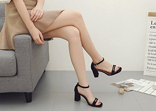 Sandalias de Correa Zapatos de Tacó Correa de Tobillo Elegantes y Acogedor Sandalias de Gruesos Zapatos de Verano Diarios Negro