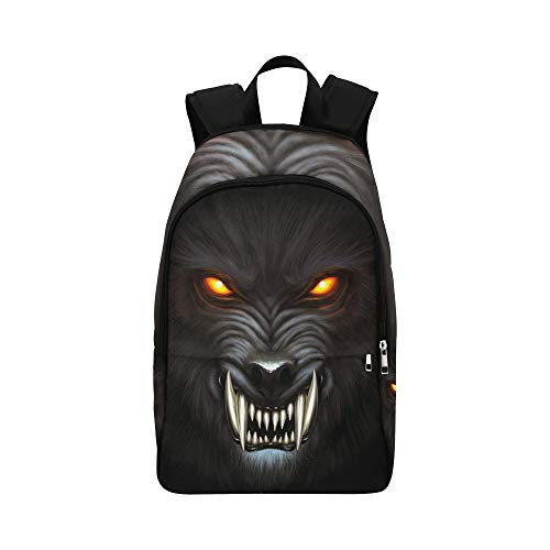 Angry Werewolf Face Darkness Digital Painting Stock Illustration Casual Daypack Travel Bag College School Backpack for Mens and Women ()