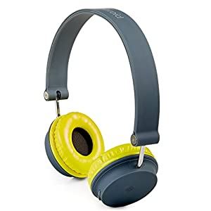 Polaroid Foldable Bluetooth Wireless Headphones, Yellow and Gray
