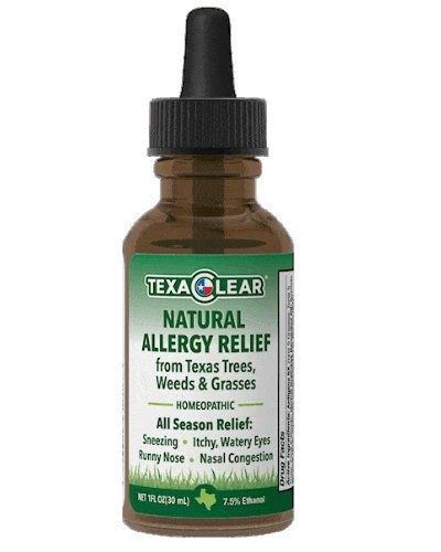 TexaClear Natural Allergy Relief Drops– Safe, Effective Homeopathic Remedy for Allergy Symptoms Caused by Texas Trees, Weeds and Grasses, Immunotherapy, Sublingual Formula,- (1oz) Drops (Effective Medicine)