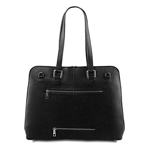 Business Tuscany Taupe Pour Foncé Smart Femme En Lucca Sac Souple Tl Cuir Noir Leather qwfHx4