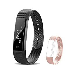 Fitness Tracker Id115 Smart Bracelet Bluetooth Wristband Pedometer Smart Bracelet Sleep Monitor, Waterproof Activity Tracker Watch -Extra Replacement Band For Android & Ios - Iphone & Samsung (Pink)