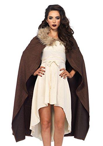[Leg Avenue Women's Faux Fur Trimmed Warrior Cape, Brown, One Size] (Leg Avenue Fur Costumes)
