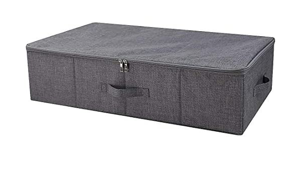 AMX - Caja de almacenamiento para debajo de la cama con tapa, color negro y gris: Amazon.es: Hogar