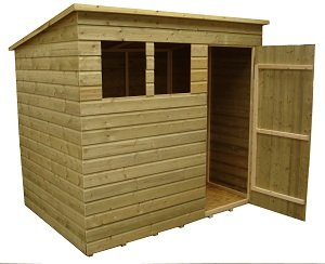 wooden garden shed 7x5 pent shed pressure treated tanalised 2 windows door right