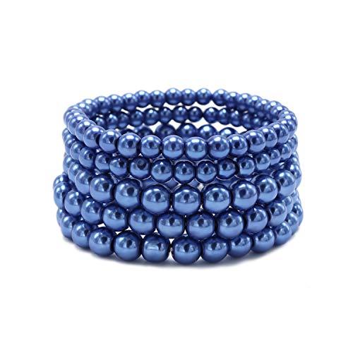 T-Doreen 5 Pcs Navy Blue Pearl Bracelet Set for Women Girl Beaded Stretch Strand Bracelet