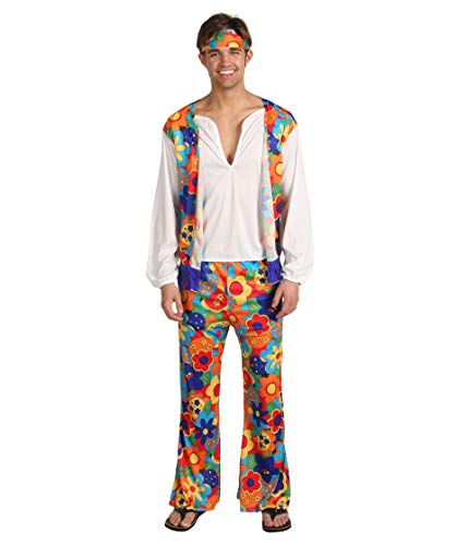 Halloween Costumes For College Men (Rubie's 60's Revolution Adult Hippie, Multicolored, One Size)