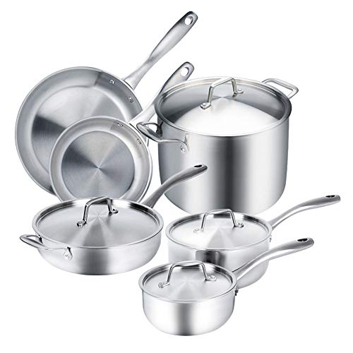 All Clad Stainless Steel Cookware Set - Duxtop Whole-Clad Tri-Ply Stainless Steel Induction Ready Premium Cookware 10-Pc Set