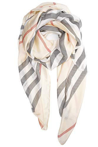 Scarf Wide Stripe - YOUR SMILE Ladies/Women's Lightweight Floral Print/Solid Color mixture Shawl Scarf For Spring Summer season (Beige Stripe)