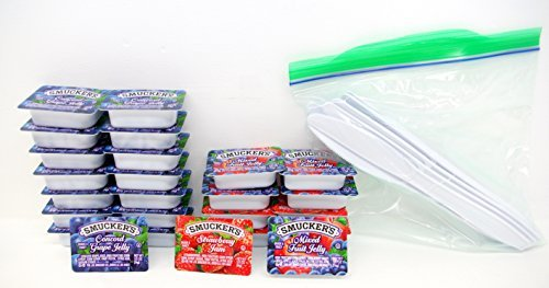 Smucker's Jam & Jelly Cups (25) + 10 Plastic Knives BUNDLED! - Never Be Without Jelly Again!