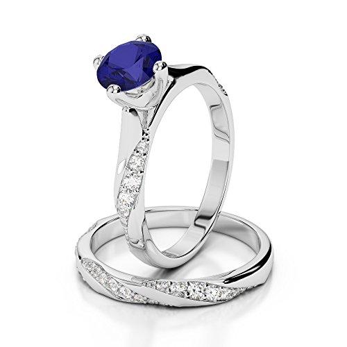 Or blanc 18carats 1CT G-H/VS sertie de diamants ronds Cut Saphir et mariée Bague de fiançailles et ensemble de Agdr-2059