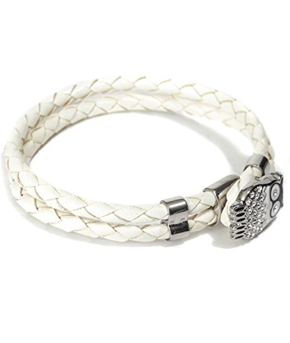 Mon Art Women's Braided Bracelet Embellished with Owl Toggle Closure L Ivory by Mon Art