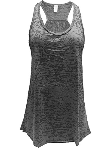 - Flowy Burnout Racerback Tank (2XL, Black)