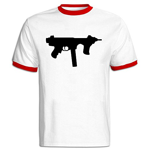 Men's Automatic Tommy Gun Style Baseball Tee Shirt Red -