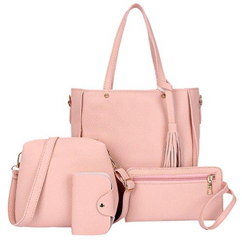Bag Clutch Bag Color Crossbody Card Classic Pure Pink 4 Ladies Handbag Bag Pieces Soft Casual Yujeet Sets wInU8Cqx