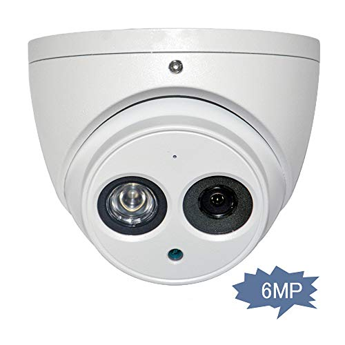 6MP Outdoor Dome IP Camera IPC-HDW4631C-A 3.6mm, 3072×2048, POE Turret Security Network Camera with Audio, Bulit in Mic, 164ft Night Vision, IP67 Weatherproof International Version