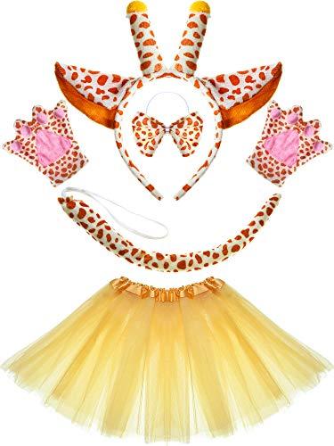 Animal Costume Set Dalmatian Dog Giraffe Ears Headband Tail Bowtie Tutu Skirt Paws for Cartoon Costume Favors (Giraffe)