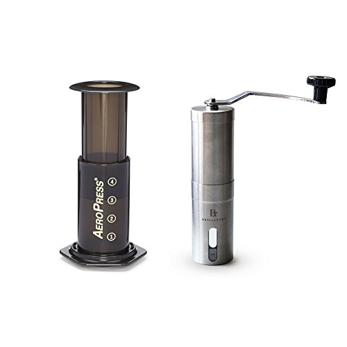 Aerobie AeroPress Coffee Maker with Brillante Manual Burr Coffee Grinder - Espresso Making Kit/Set
