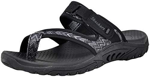 (Skechers Women's Reggae-Zig Swag Flip-Flop Sandals, Black/Charcoal, 9.5 M US)