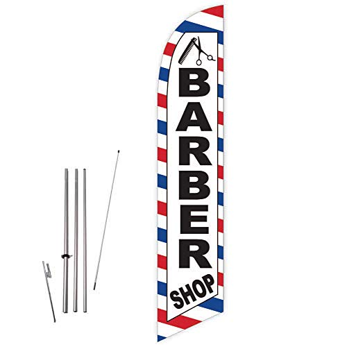 Cobb Promo Barber Shop (White) Feather Flag with Complete 15ft Pole kit and Ground Spike