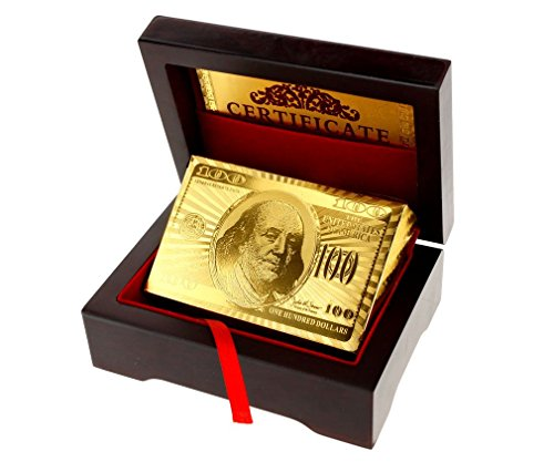 Other 24K Gold Plated Playing Cards Poked Deck 99.9% Pure + Deluxe Wooden Box Gift -
