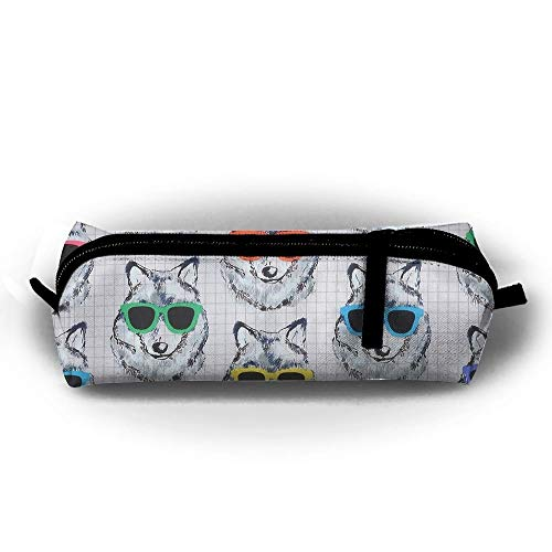 (Jliming Pencil Bag Pen Case Cute Dogs Sunglasses Cosmetic Pouch Students Stationery Bag Zipper Organizer )