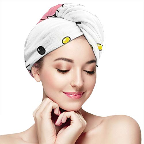 Super Absorbent Dry Hair Hat- Hello Kitty And Pumpkin Lantern Hair Towel Wrap Turban Microfiber Drying Bath Shower Head Towel With Buttons,Quick Magic Dryer - Hello Kitty Pumpkin