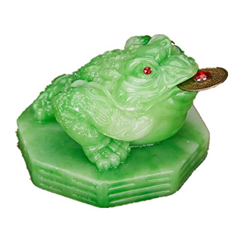 Feng Shui Polyresin Money Frog (Three Legged Toad) On Base Statue Home Office Decoration(Jade) - Chinese Jade Lucky Dragon