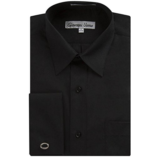 Gentlemens Collection Men's French Cuff Solid Dress Shirt (Cufflink Included) (Black, 18.5\ Neck 34/35\