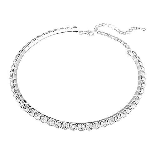 Habeats Rhinestone Crystal Collar Choker Necklace One Row