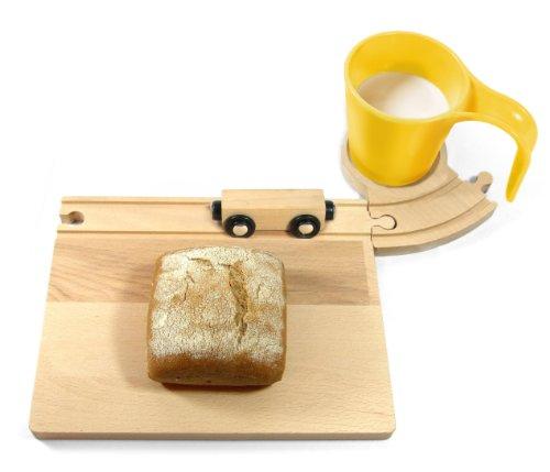 Eisenbahn Frühstücks Set (gelb) Frühstücksset - Brettchen Holzbrettchen Frühstücksbrettchen mit Tasse Schneidebrett Vesperbrettchen für Kinder