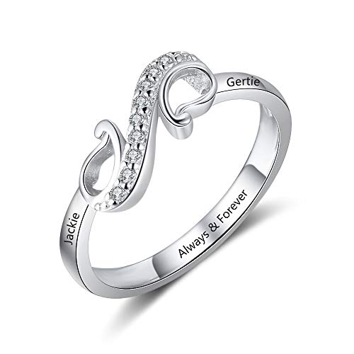 Ashleymade Free Engraving Infinity Knot BFF Friendship Rings for Women Personalized Sisters Best Friends Rings Custom Promise Name Rings Engagement Wedding Bands (6)