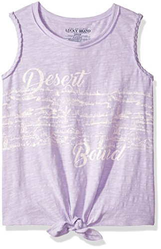 Lucky Brand Girls' Little Sleeveless Fashion Tank Top, Pastel Lilac Valiant, 6X by Lucky Brand