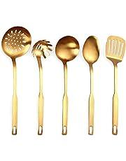 Sonline Rostfritt stål kök redskap 5 delar matlagning murslev set, köksverktygssats, guld