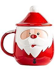Bestonzon Christmas Coffee Mug Ceramic Santa Claus Pattern Coffee Mug with Lid Spoon Water Tea Milk Cup for Xmas Party Decoration Supplies 450ml