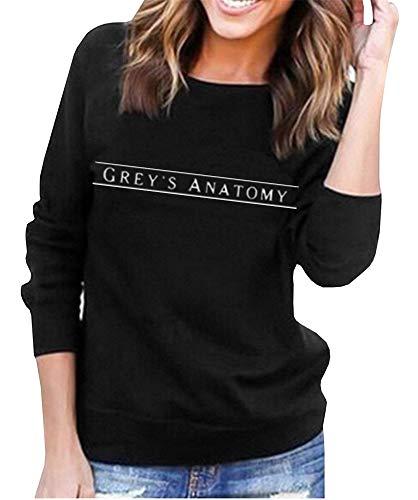 AEURPLT Womens Cute Graphic Greys Anatomy Sweatshirt Winter Fleece Pullover Tops Black