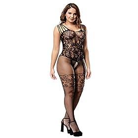 - 41wl0YD3BXL - Deksias Womens Strap Floral Crotchless Bodystocking Plus Size Bodysuit for Women