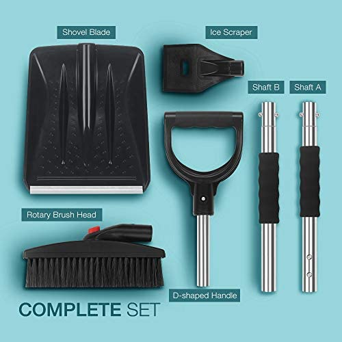 Snow Shovel Kit, multifun 3-in-1 Snow Shovel with Ice Scraper and Snow Brush, 3 Piece Collapsible Design Portable Emergency Snow Shovel Set for Car Truck Camping and Other Outdoor Activities