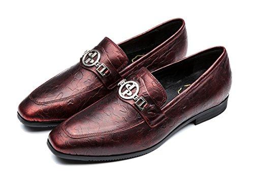 OPP Hombres Flats Zapatos de Piel Zapatos de vestir Rojo