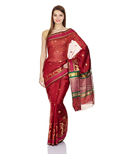 Chandrakala Women's Banarasi Silk Saree Free Size Red