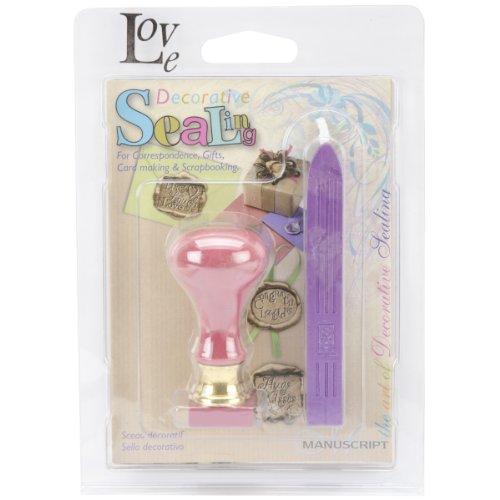 Price comparison product image Manuscript Pen Decorative Resin Seal with Purple Wax, Love