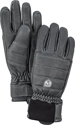 Hestra Leather Ski Gloves: Mens and Womens Alpine Primaloft Cold Weather Winter Gloves, Grey, 9