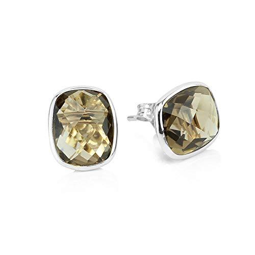 14k White Gold Stud Earrings With Cushion Cut Smoky Quartz - Gemstone Studs (Smoky Quartz Gem Ring)