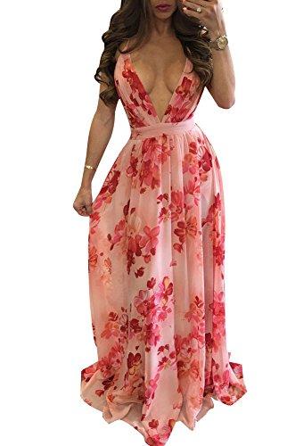 Remelon Womens Sexy Spaghetti Strap Deep V Neck Floral Boho Criss Cross Backless Chiffon Beach Party Long Maxi Dress