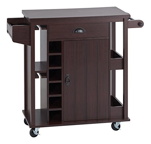 ioHOMES Casti Kitchen Cart, Espresso - Espresso Wine Cart