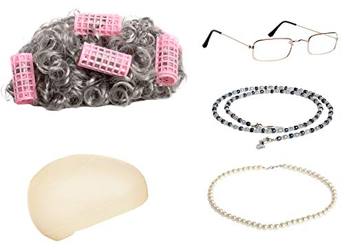 Old Cat Lady Halloween Costume (Zivyes Old Lady Costume Granny Wig,Wig Cap,Madea Granny Glasses,Eyeglass Chains,Pearl Beads Accessories for Dress up)